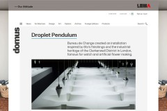 Droplet Pendulum - Bureau de Change created an installation inspired by Sto's finishings and the industrial heritage of te Clerkenwell District in London